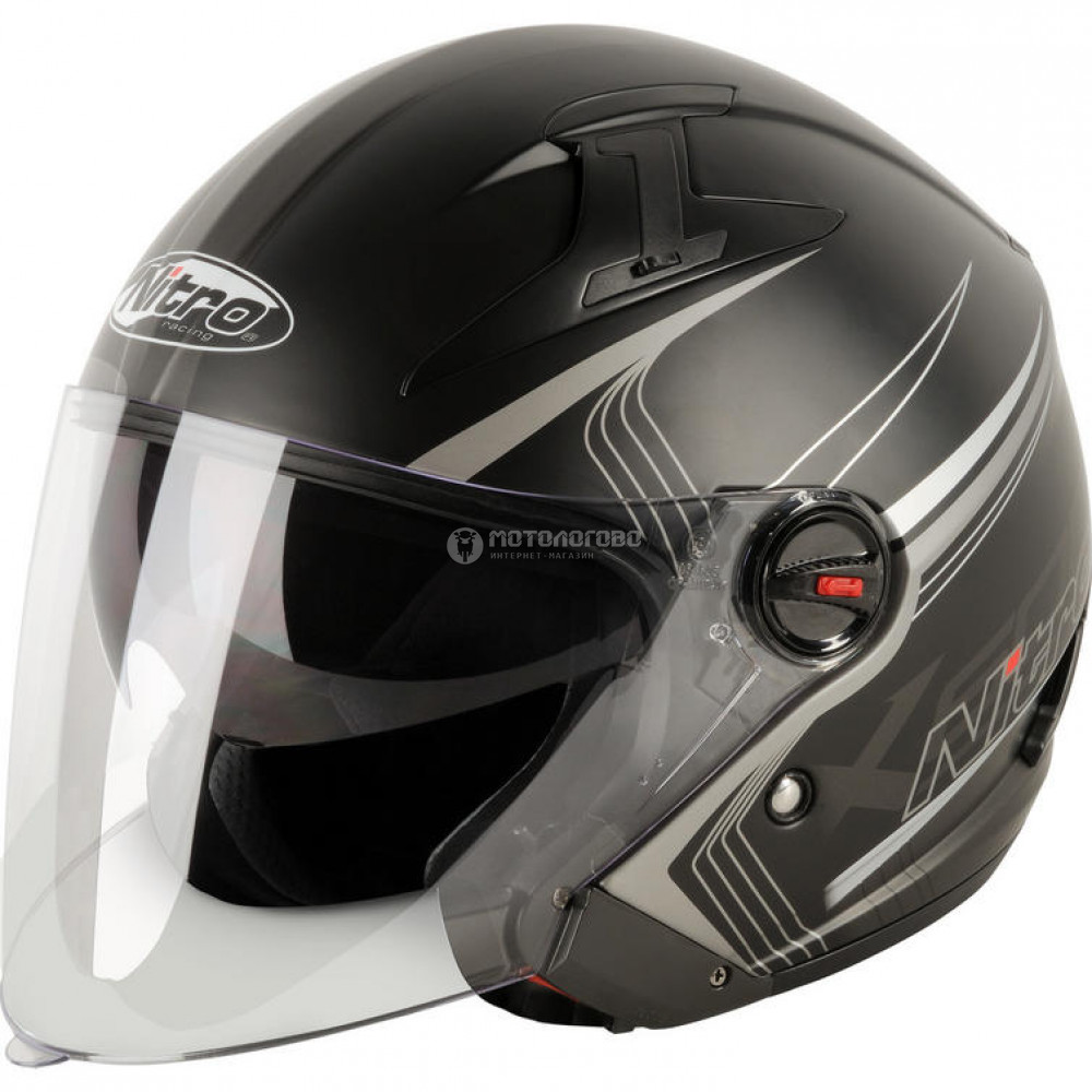 Шлем полулицевик Nitro x600 tetra black/guN